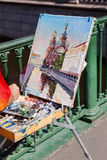 Artist paint Church of the Savior on Spilled Blood Royalty Free Stock Photography