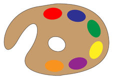 Artist Paint Palette. A typical aertists paint palette with a variety of colours over a white background royalty free illustration