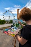 Artist paint summer park royalty free stock photography