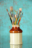 Artist Paintbrushes in a Jar Royalty Free Stock Photos
