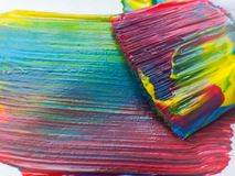 Artist paintbrushes with paint closeup. Copy space. Selective focus. Royalty Free Stock Image
