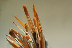 Artist paintbrushes and pencils Stock Images