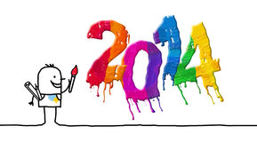 Artist & painted 2014. Artist & painted 2014 - hand drawn cartoon characters Royalty Free Stock Image