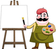 Artist Painter and Art Easel. Cartoon Artist Painter with palette and brush next to art easel with blank white painting isolated on white background. You can Royalty Free Stock Photography