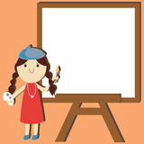 Artist Painter Cartoon With empty space background. Cartoon illustration Royalty Free Stock Photography