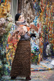 Artist, painter woman at work. Delight, surprise, admiration Stock Images