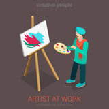 Artist painter at work easel flat 3d web isometric Stock Photography