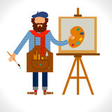 Artist painter at work easel palette flat concept vector template. Character in modern flat design style.  on white background Stock Photos