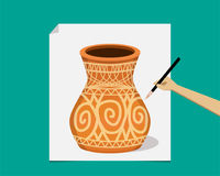 Artist painting ancient pottery on paper, vector. Design Royalty Free Stock Images