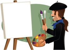 Artist painting a blank canvas Royalty Free Stock Photography