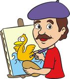 Artist painting funny happy duck  Stock Images
