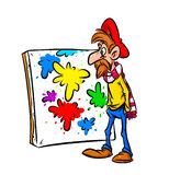 Artist and the painting cartoon Royalty Free Stock Photos