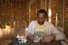 An artist painting, Ethiopia Royalty Free Stock Photos