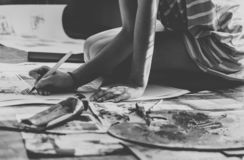 Artist painting on the floor royalty free stock photos