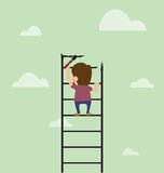 Artist are painting ladder and also climbing Stock Photo