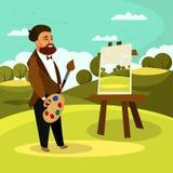 Artist Painting Landscape Flat Vector Illustration stock illustration