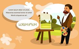 Artist Painting Landscape Vector Banner Layout royalty free illustration