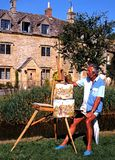 Artist painting in Lower Slaughter. Stock Images