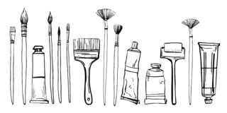 Free Artist Painting Materials. Hand Drawn Stylized Sketch Vector Illustration. Brushes And Paint Tubes Royalty Free Stock Image - 133676146
