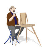 Artist painting outdoors Stock Photos