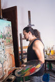 Artist painting Stock Image