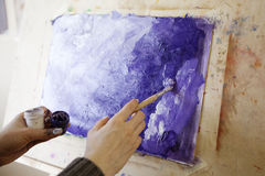 Artist Painting a Picture. Impressionism. Close up Stock Photography