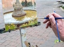 Artist painting, Sedona, Arizona. Capturing the details on canvas in Sedona Royalty Free Stock Photo