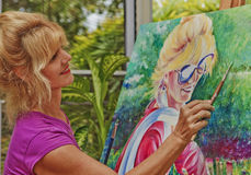 Artist painting a self portrait Stock Photography