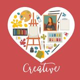 Artist painting tools and artistic materials icons set in heart shape. Royalty Free Stock Photo