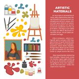 Artist paiting materials and creative art picture drawing tools vector icons poster. Artist painting tools and artistic materials poster. Vector icons of color vector illustration