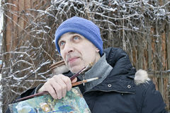 Artist Painting In Winter Royalty Free Stock Photography