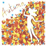 The artist paints autumn. The word `autumn` calligraphy is a lottery and a beautiful cute young girl painter with a brush and a palette in her hands, on a large Stock Illustration
