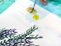 Artist paints picture with brush with watercolors royalty free illustration