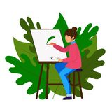 The artist paints a picture, holding a brush and palette. The girl sits on a stool at the easel and paints. vector illustration