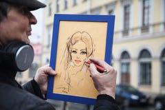 Artist paints a portrait. royalty free illustration