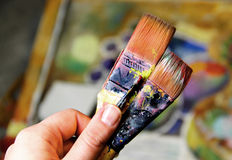 Artist paints still life in cubistic Stock Photos