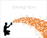 Artist paints wave. Orange bubble Stock Photography