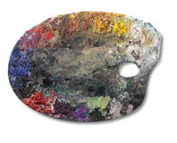 Artist palette. On withe background. Clipping path on palette Royalty Free Stock Photo