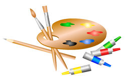 Artist palette. Palette of the artist with paint Stock Image