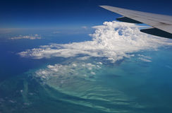 Artist palette aerial view. Stunning aerial view over the Bahamas, reminiscent of an artist palette Stock Photos