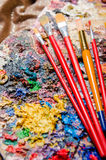 The artist palette in art concept Stock Image