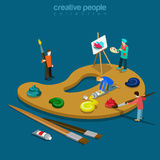 Artist palette color painter flat isometric vector 3d Royalty Free Stock Images