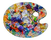 Artist palette with colorful paint spots royalty free stock image