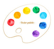 Artist palette. Hand drawn watercolor circles and artist palette stock illustration
