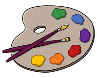 Artist palette paints and brushes illustration. Artist palette cartoon Royalty Free Stock Photo