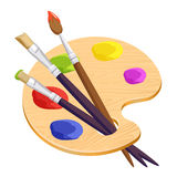 artist palette with three long different brushes inside on white Royalty Free Stock Images