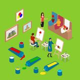 Artist Palette Workplace Interior Concept 3d Isometric View. Vector. Artist Palette Workplace Interior Concept 3d Isometric View with Drawing People at Easel Royalty Free Stock Image