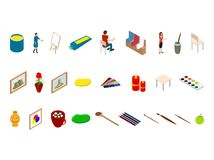 Artist Palette Workplace Interior Iconas 3d Isometric View. Vector. Artist Palette Workplace Interior Icons 3d Isometric View with Drawing People at Easel Stock Photos