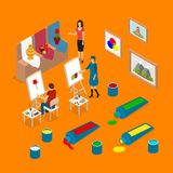 Artist Palette Workplace Interior Parts Concept 3d Isometric View. Vector. Artist Palette Workplace Interior Parts Concept 3d Isometric View with Drawing People Stock Image