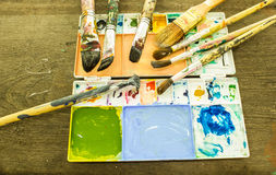 Artist palettes & brushes Stock Photo